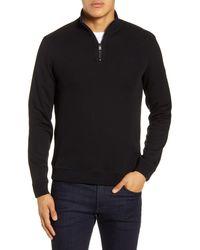 Ted Baker Hydes Slim Fit Textureblock Quarter Zip Pullover - Black