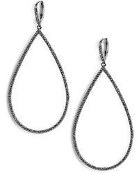 Lisa Freede Micro Pavé Teadrop Earrings - Metallic
