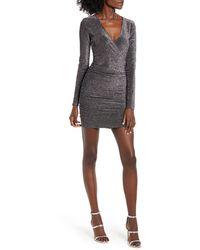 Leith Metallic Long Sleeve Wrap Dress