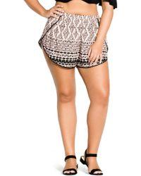 City Chic Geo Print Shorts - Black