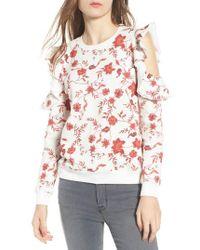 Rebecca Minkoff - Gracie Cold Shoulder Floral Sweatshirt - Lyst