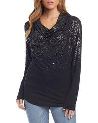 Karen Kane Ombré Shimmer Cowl Neck Top - Black