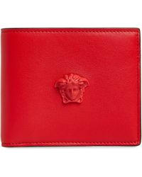 Versace Medusa Bifold Leather Wallet - Red