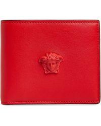 Versace Medusa Bifold Leather Wallet - Red