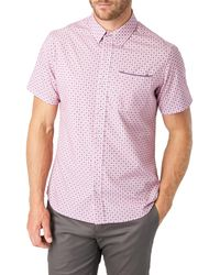 7 Diamonds Another Dimension Slim Fit Short Sleeve Button-up Shirt - Pink