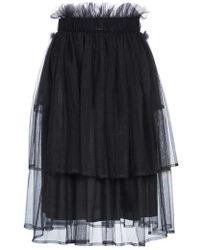 Noir Kei Ninomiya - Tulle Overlay Midi Skirt - Lyst