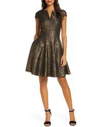 Julia Jordan Bonded Lace Fit & Flare Dress - Black