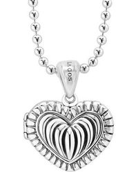 Lagos - Beloved Fluted Heart Locket Necklace - Lyst