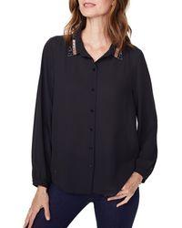 NYDJ Embellished Collar Crepe Blouse - Black