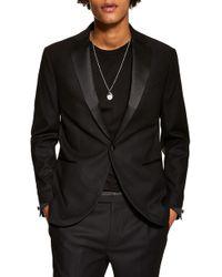 TOPMAN Slim Fit Tuxedo Jacket - Black
