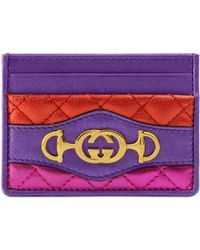 04eff3f7858a Gucci - Quilted Metallic Leather Card Case - Lyst