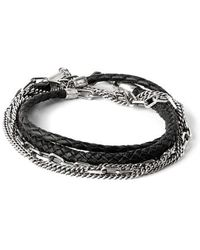 Title Of Work - Braided Leather & Chain Multi Wrap Bracelet - Lyst