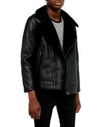 TOPMAN Faux Shearling Trim Faux Leather Biker Jacket - Black