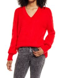 BP. Deep V-neck Fuzzy Tunic Sweater - Red
