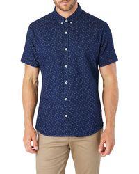 7 Diamonds Night Shift Slim Fit Floral Short Sleeve Button-down Denim Shirt - Blue
