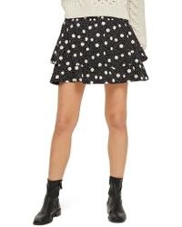 TOPSHOP - Tiered Polka Dot Skirt - Lyst