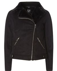 Dorothy Perkins Faux Suede Biker Jacket With Faux Shearling Trim - Black