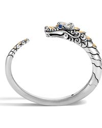 John Hardy - Brushed Sterling Silver Naga Kick Cuff With Black Sapphire, Black Spinel And Blue Sapphire Eyes - Lyst