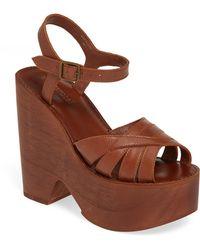 3014cf4e5113 Lyst - Jeffrey Campbell Wood Platform Wedge Sandals in Black