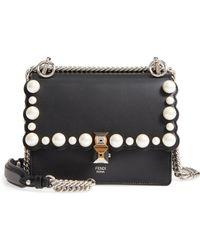 6d6808c46b8c Fendi - Small Kan I Imitation Pearl Stud Calfskin Shoulder Bag - - Lyst