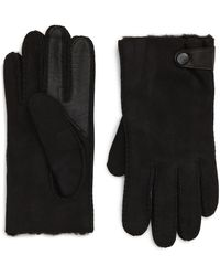 UGG UGG Genuine Shearling Lined Leather Tech Gloves - Black