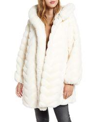 Gallery Faux Fur Hooded Swing Coat - Natural