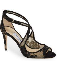 ef4a9e25f379c Lyst - Jimmy Choo Panna Patent Crisscross Slide Sandal Black in Black