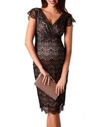 TIFFANY ROSE - Maternity Imogen Surplice Cap-sleeve Eyelash Lace Shift Dress - Lyst