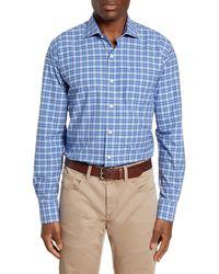 Peter Millar Crown Finish Sandpoint Regular Fit Plaid Button-up Shirt - Blue