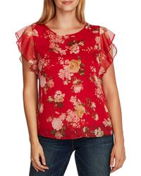 Vince Camuto Beautiful Blooms Flutter Sleeve Top - Red