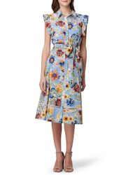 Tahari - Printed Ruffled Shirtdress - Lyst