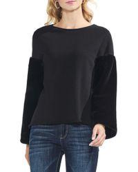 Vince Camuto Faux - Fur Sleeve Sweatshirt - Black
