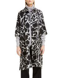 Sara Lanzi Floral Jacquard Wool Coat - Black