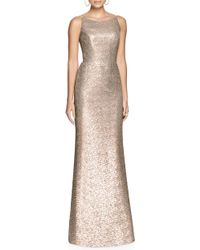 Dessy Collection - Bateau Neck Sequin Gown - Lyst