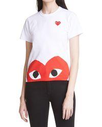 Comme des Garçons - Comme Des Garçons Play Peek Heart Graphic Tee - Lyst