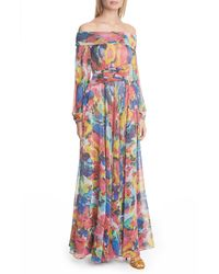 Talbot Runhof Aquarelle Off The Shoulder Long Sleeve Knit Gown - Multicolor