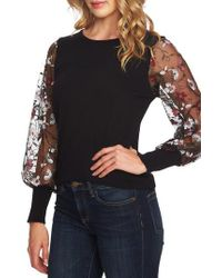 Cece - Embroidered Sleeve Sweater - Lyst