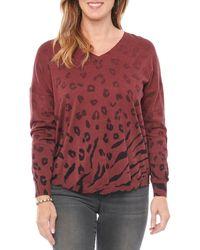 Wit & Wisdom V-neck Animal Print Ombré Sweater - Red