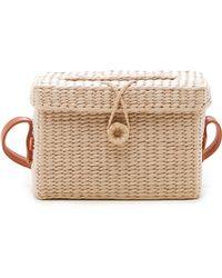 Sole Society Ellyn Straw Box Crossbody Bag - Natural