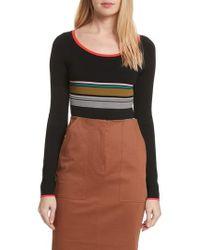 Diane von Furstenberg - Diane Von Furstenberg Stripe Knit Bodysuit - Lyst