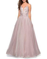 La Femme Tulle & Lace Evening Dress - Pink