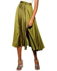 TOPSHOP Pleated Satin Midi Skirt - Green