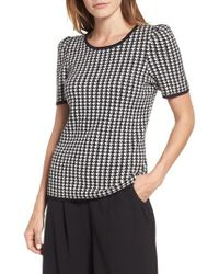 Vince Camuto - Puff Shoulder Houndstooth Sweater - Lyst