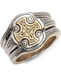 Konstantino Stavros Cross Signet Ring - Metallic
