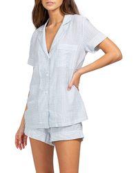 Eberjey Nautico Stripe Short Pajamas - Blue