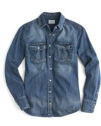 J.Crew | J.crew Washed Western Chambray Shirt | Lyst