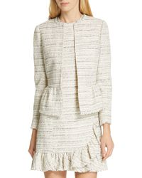 TAILORED BY REBECCA TAYLOR Tweed Peplum Jacket - Natural