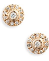 Dana Rebecca - Lauren Joy Mini Diamond Disc Stud Earrings - Lyst