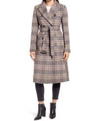 Ellen Tracy Mix Plaid Belted Wool Blend Coat - Multicolor