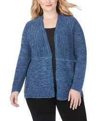Foxcroft Arizona Ottoman Open Front Cotton Blend Cardigan - Blue